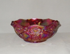 "Smith Red Carnival Glass 8"" Bowl Vibrant Iridescent Glass - $35.00"