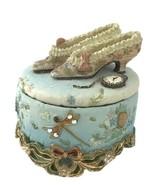 Victorian Treasures Delicate Lidded Trinket Box Shoes Watch Blue - €9,12 EUR