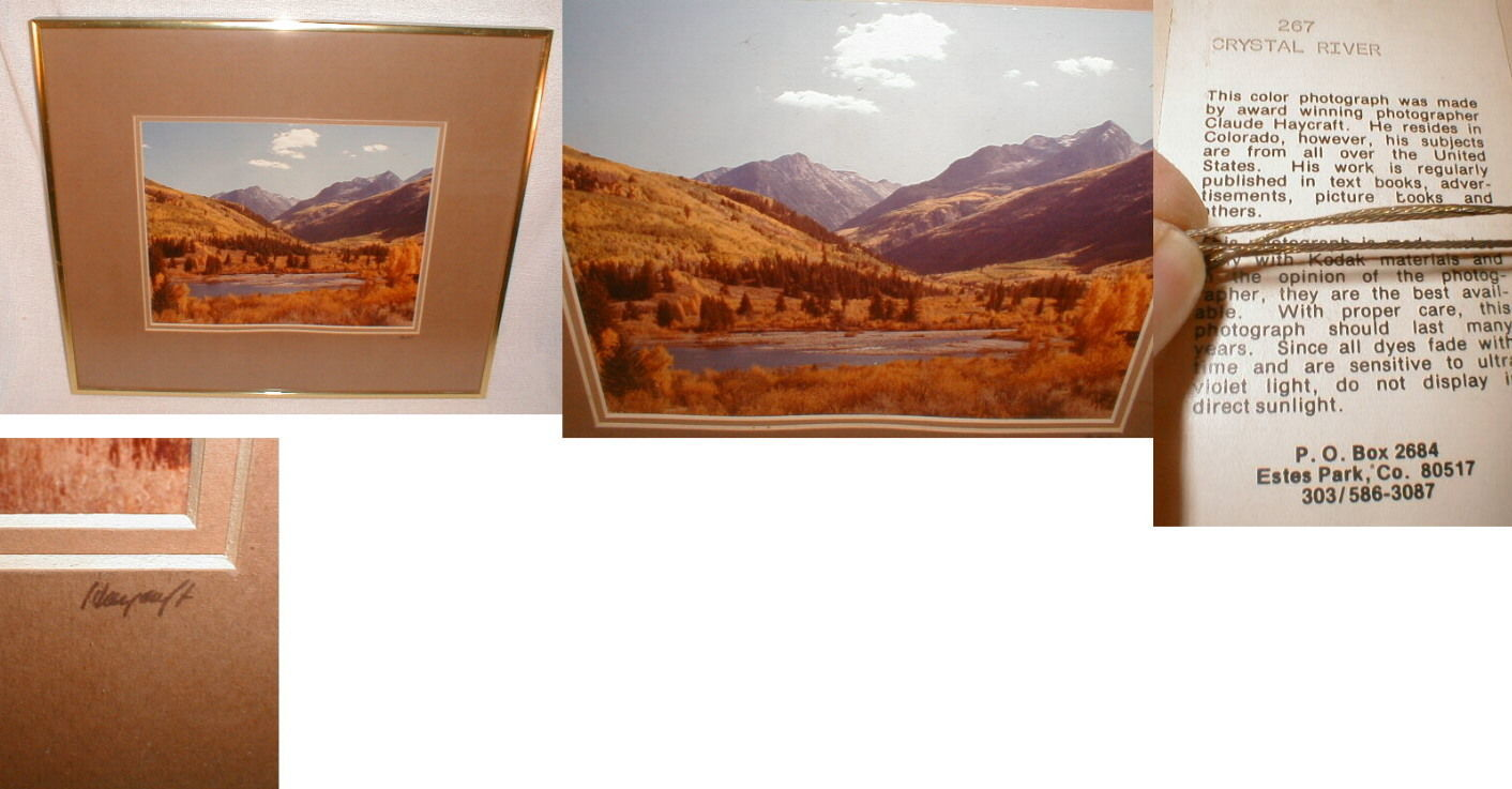 Photograph Framed Art Crystal River Western Signed Claude Haycraft