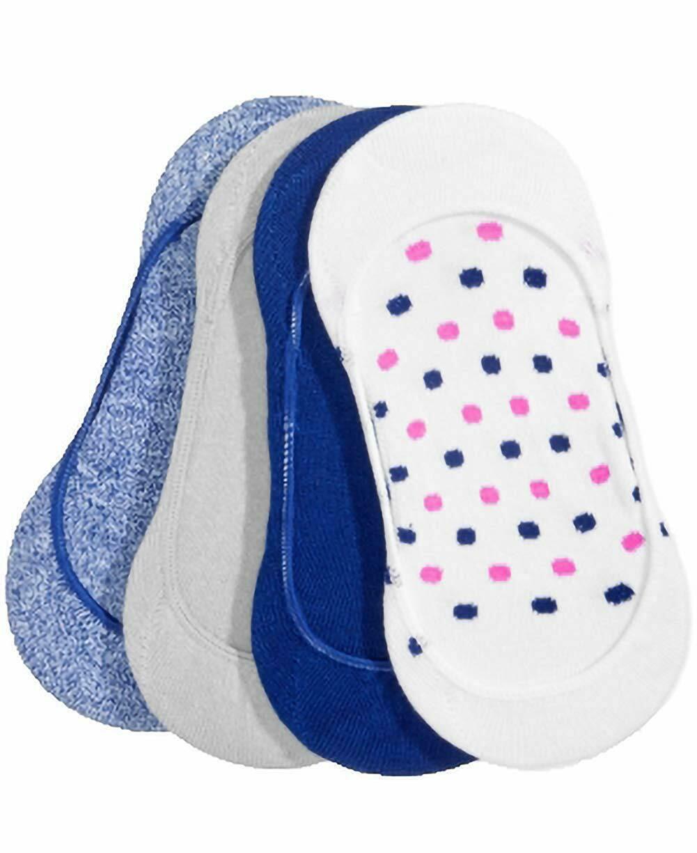 HUE 4-Pack Low Cut Women's Liner Socks Blue Print White Gray OSFM NEW