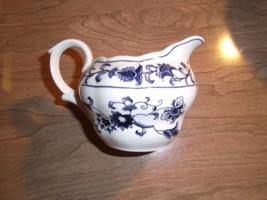 Double Phoenix Nikko Japan Blue & White Flower Leaf Creamer   - $9.87