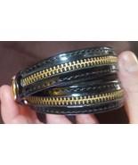 Rebecca Minkoff black Double Wrap Patent Leather gold zipper Bracelet - $23.00