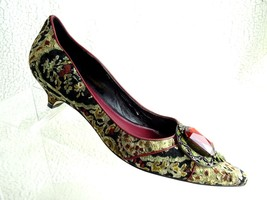 Enzo Angiolini Womens Sz 9 M Tapestry Pumps Heels Peep Toe Adorable Rare Shoes - $20.30