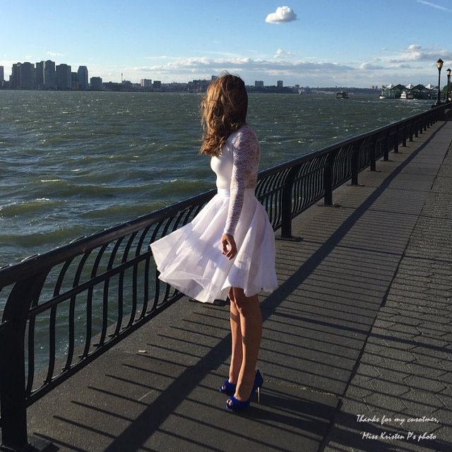 NUDE Knee Length High Waist A-line Tulle CIRCLE SKIRT Lady Nude Bridesmaid Skirt