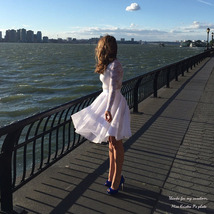 Nude White Gray Knee Length High Waist A-line Tulle CIRCLE SKIRT Lady Tutu Skirt image 2