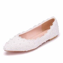 Crystal Queen Women Flats Ballets Shoes White Lace Wedding Flats Pointed... - $40.34