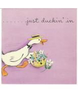 Vintage Easter Card Duck in Straw Hat Unused with Envelope 1950s Hallmark - $6.92