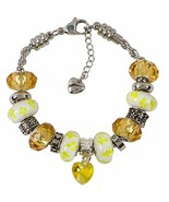 Yellow Charm Bracelet With European Bead Charms For Girls, Stainless Ste... - $34.82