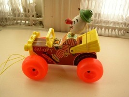 1960s, Fisher Price, Clown in  Jalopy Pull Toy - $17.05