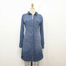 XS - Cloth & Stone Blue Polka Dot Anthropologie Long Button Up Dress 0516MH - $36.00
