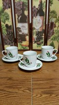 3 Alco Industries Christmas Holly Berry Cups and Saucers - $9.74
