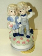 Vintage Ceramic Boy & Girl One Horse Open Sleigh Melody Turning Musical ... - $15.84