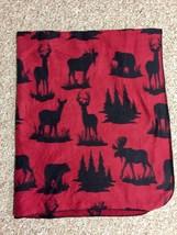 BEAR MOOSE DEER Bass PRO Reversible THROW Blanket RED Black 100% Polyest... - ₹1,504.78 INR