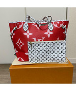 Louis Vuitton Neverfull Tote Bag MM Red pink Giant Monogram M44588 R258 - $3,445.20