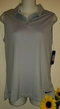 Nwt Nike Golf DRY-FIT Solid Sleeveless Polo Wicking Wolf Grey 884873-012 Womens - $29.50