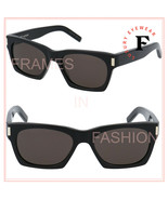 SAINT LAURENT 402 YSL SL402 Black Rectangular Slim Style Sunglasses Unis... - $252.45