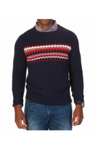 $98 Nautica Blue Red Mens Size XL Fair Isle Knit Crewneck Sweater - $49.50
