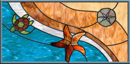 Leaded Stained Glass Window Panel Original Starfish Emerging Ocean Wave ... - $227.00