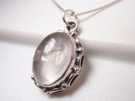 Rose Quartz with Rope Style Accents 925 Sterling Silver Pendant h121rb - $19.37
