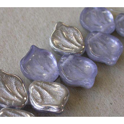 Lilac Silver Leaf Beads Vintage Style Czech Glass Beautiful!