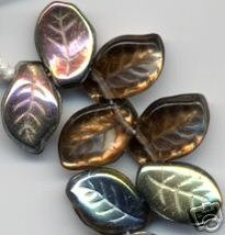 Gorgeous Bronze Topaz Czech Glass Leaf Beads  - $4.20