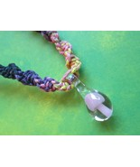 Handmade Pink, Purple and Yellow Hemp Necklace with Pink Glass Mushroom ... - $17.00