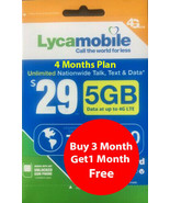 Lycamobile Preloaded Sim $29 x 3 + 1 Extra month Free (4 Months 5GB Per ... - $35.14