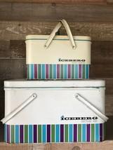 Vintage Iceberg Picnic Hamper and Cottage Box Metal Picnic Baskets with ... - $2.366,14 MXN
