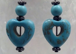 Turquoise Heart Earrings December Birthstone Hand Made In USA  Heart - $25.00