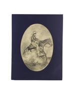 "Cowboy on Horse Western Pencil Art Drawing Unframed in Matte 11"" X 14"" S... - $35.00"