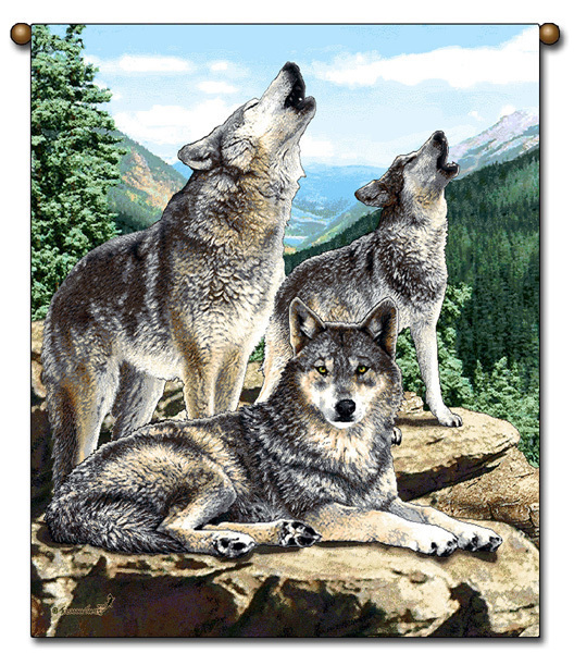 27x36  WOLF  WOLVES Wildlife Tapestry Wall Hanging