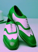 White Green Two Tone Brogues Toe Premium Leather Lace Up Men Oxford Shoes - $139.99+