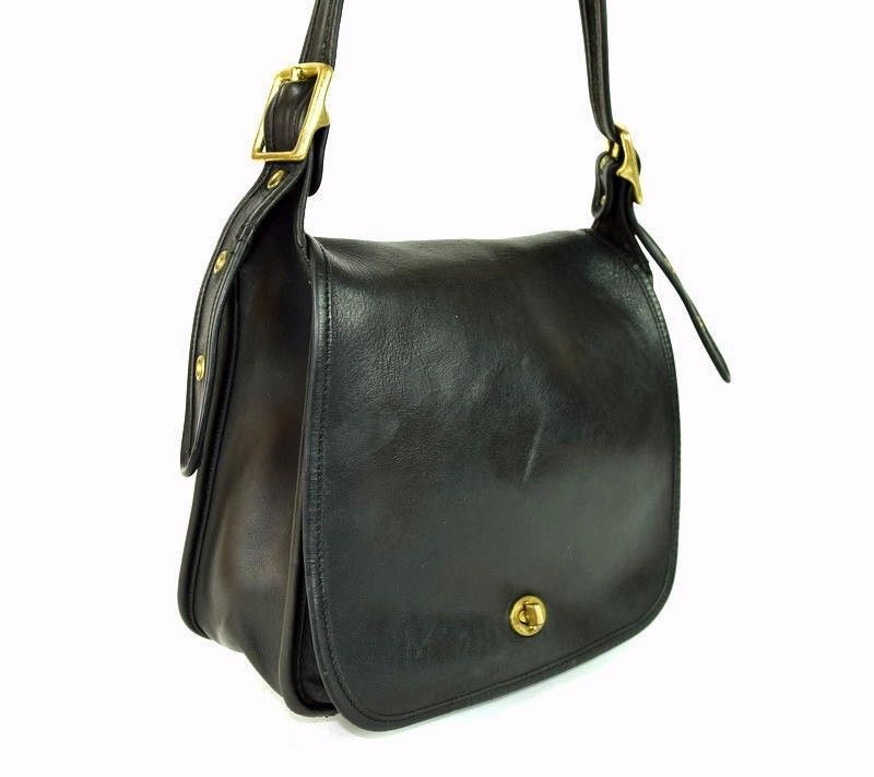 Primary image for COACH 9525 Vintage Black Leather Stewardess Shoulder Bag Purse Satchel Flap
