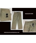 Haggar Men's Classic Fit Khaki Beige Pants No Iron W2W 36 x 32 NWT - $18.99