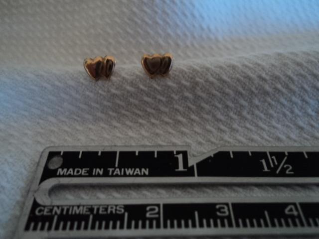 Double Heart 14K Gold Stud Pierced Earrings
