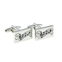 Rectangular Music Notes Design Cufflinks Chunky cufflinks, silver with music des