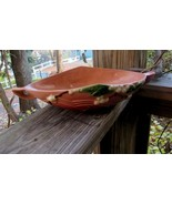 """ROSEVILLE SNOWBERRY CONSOLE DISH, COLOR-APRICOT AND ROSE, 13"""" LONG"""