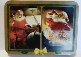 Vtg. 1997 Coca- Cola Playing Card TIN W/2 New Decks Featuring Santa Claus - $12.86