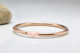 14k rose gold bracelet,pink gold tube,gold bracelet,rose quartz bangle - $79.00+