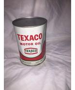 Vintage 1968 Texaco Motor Oil 1 qt Metal Can Full VGC Red & Green Square logo - $19.11