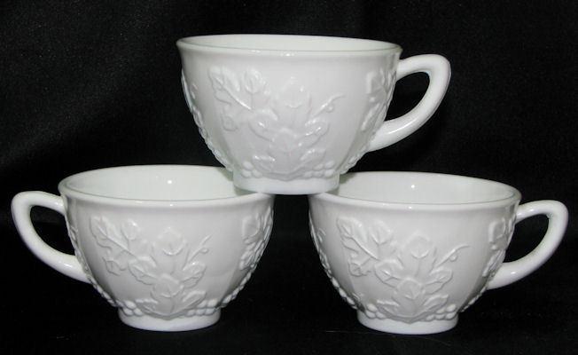 3 Indiana Glass Colony Harvest Grape Milk Glass Cups