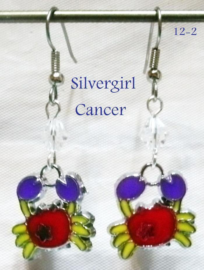 Cancer crab zodiac earrings surgical steel