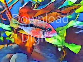 Digital download fish ocean sea life marine fisher Wallpaper Painting Wa... - $4.00