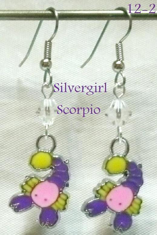 Zodiac Earrings Zinc Metal Alloy Lead/Nickel Free Crystal Surgical Steel