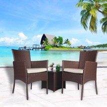 Outdoor 3 PC Bistro Sofa Set Cushioned Wicker Sectional Furniture Coffee... - $149.99
