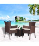 Outdoor 3 PC Bistro Sofa Set Cushioned Wicker Sectional Furniture Coffee... - $159.99