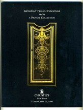 Christie's Auction Catalog Important French Furniture New York  May 1996 - $39.56