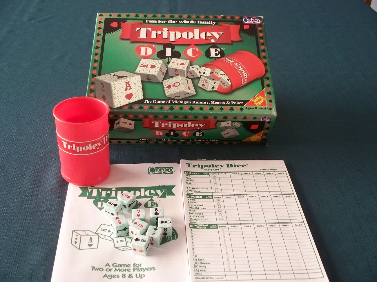 Tripoley Dice by Cadaco 1997.  Complete VGC