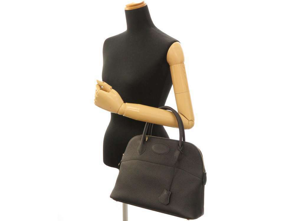 HERMES Bolide 31 Taurillon Clemence Noir 2Way Handbag Shoulder Bag #C Authentic image 11