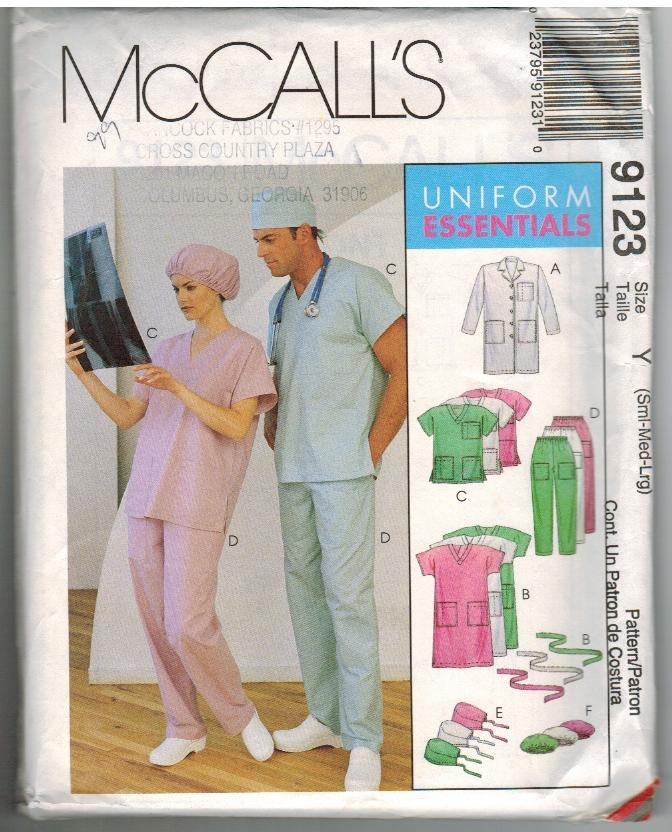 McCalls Uncut Sewing Pattern #9123 Size Y Small Medium Large Uniform Essentials